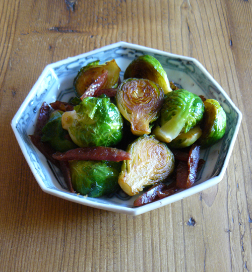 Brussels sprouts with Chinese sweet sausage