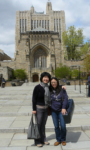 Me and Paulina at Yale, in front of Sterling Library