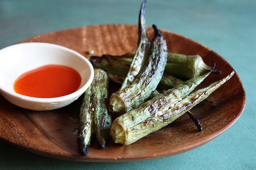 grilled okra with sriracha sauce