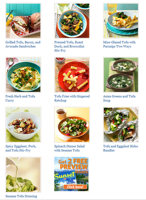 Go to Sunset.com's tasty tofu recipe collection