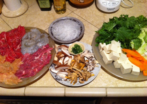 Chinese hot pot raw ingredients