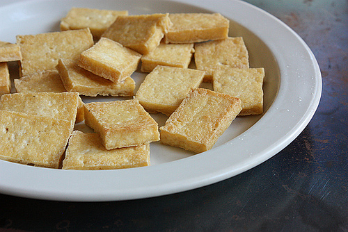 Fried tofu pieces for egg pancakes