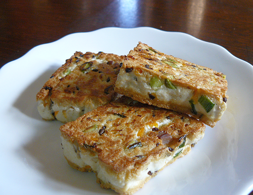 Asian Tofu: panfried homemade confetti tofu