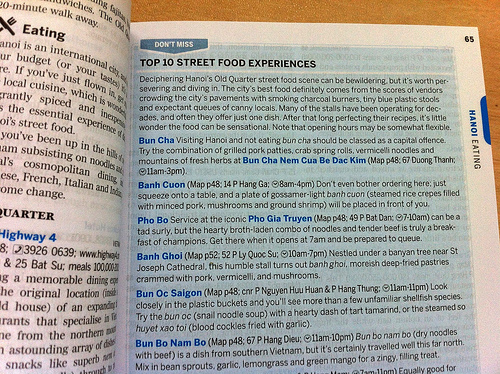Lonely Planet Vietnam guidebook page