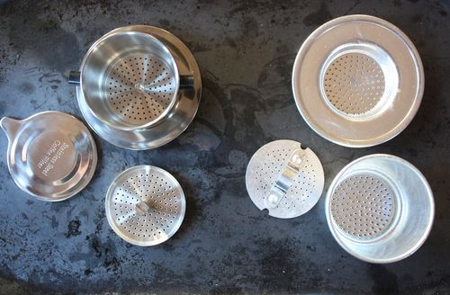 Two Vietnamese coffee filter designs