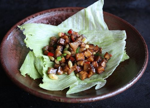 Chicken and tofu lettuce cups