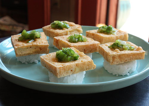 Crisp scallion tofu with rice cakes