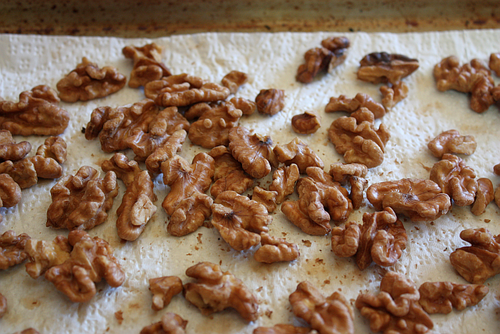 Salted caramelized walnuts baked