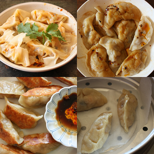 Roasted kabocha squash dumplings collage