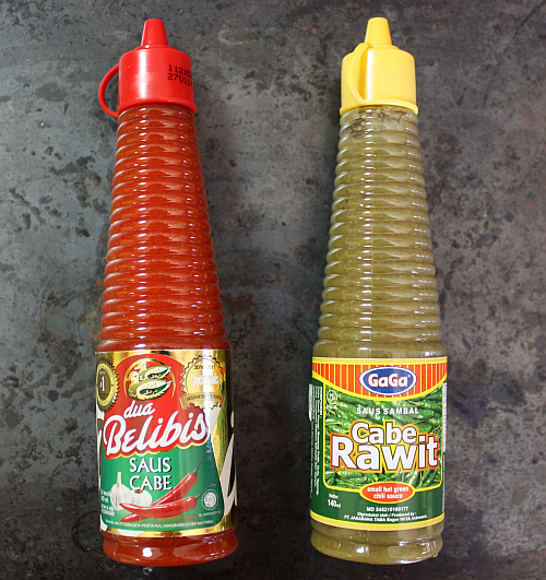 Indonesian hot sauces green and red