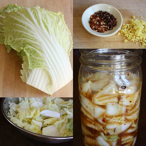 Hot and sour napa cabbage collage