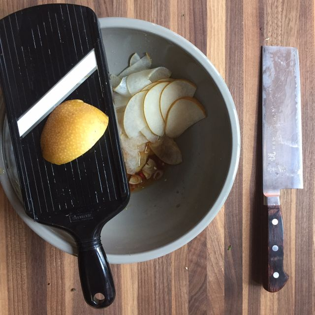 Pear-salad-mandoline-knife