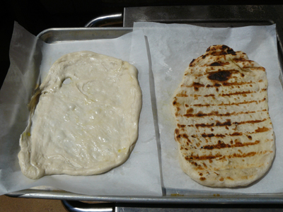 Raw and grilled pizza dough