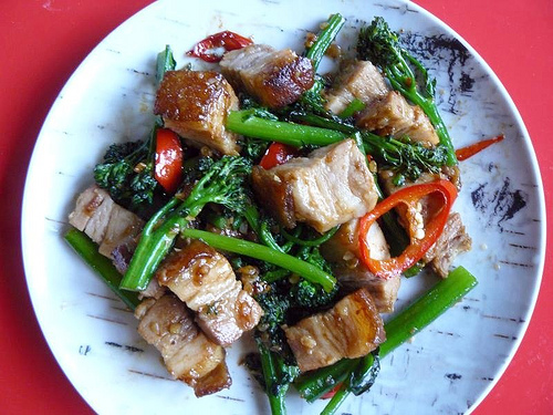 Thai pork belly stir-fried with garlic and broccolini