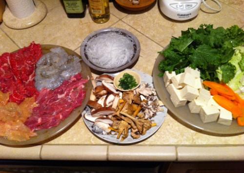 Chinese hot pot raw ingredients