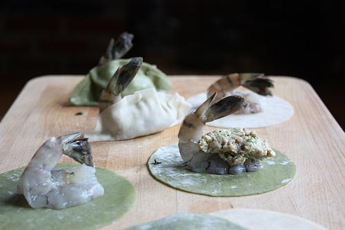 Korean shrimp mandu dumpling process