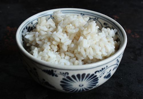 Short-grain beige rice cooked