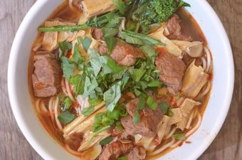 Spicy Beef and Tofu Skin Noodle Soup