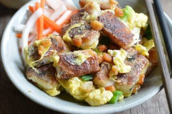 Fried Daikon Rice Cakes with Egg and Sriracha Soy Sauce (Banh Cu Cai Bot Chien)