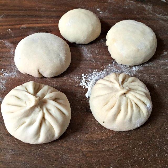 Panfried pork pie formed