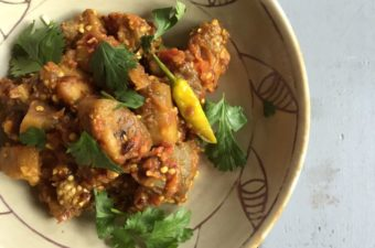 Smoky Indian Eggplant and Spicy Tomato Recipe