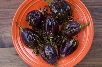 Eggplant Stuffed with Sesame-Cashew Masala Recipe