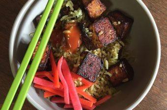 Pan-Seared Salt and Pepper Tofu Rice Bowl Recipe