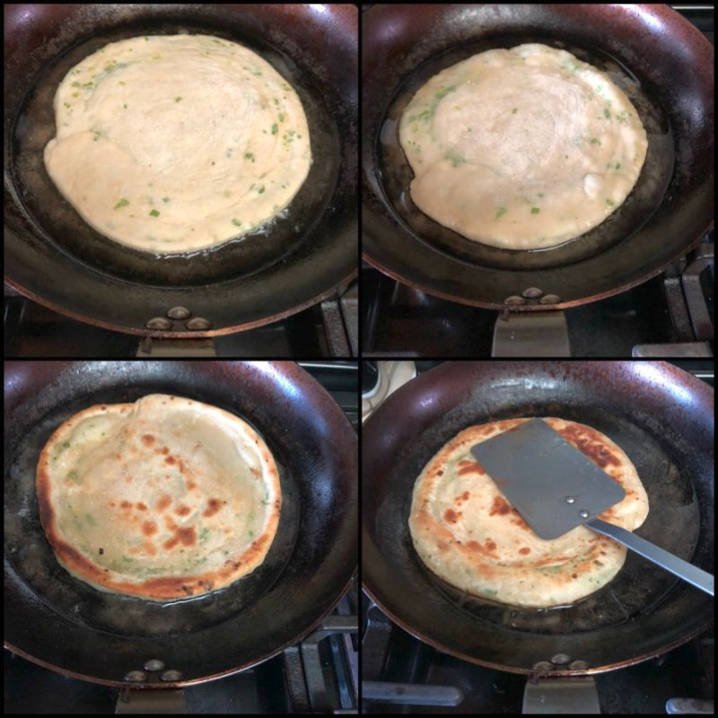 Cooking scallion pancakes