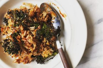 "Air-fried Steak and General Tso's Broccoli ""Fried"" Rice"