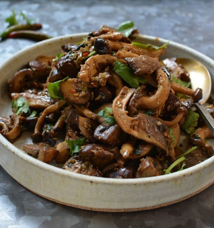 Lemongrass chile mushroom stir-fry