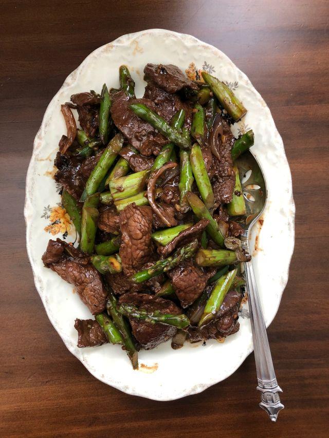 Lemongrass beef and asparagus
